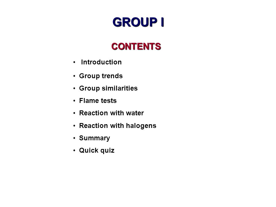 GROUP I CONTENTS Introduction Group trends Group similarities