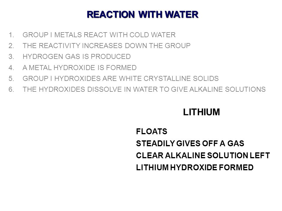 REACTION WITH WATER LITHIUM