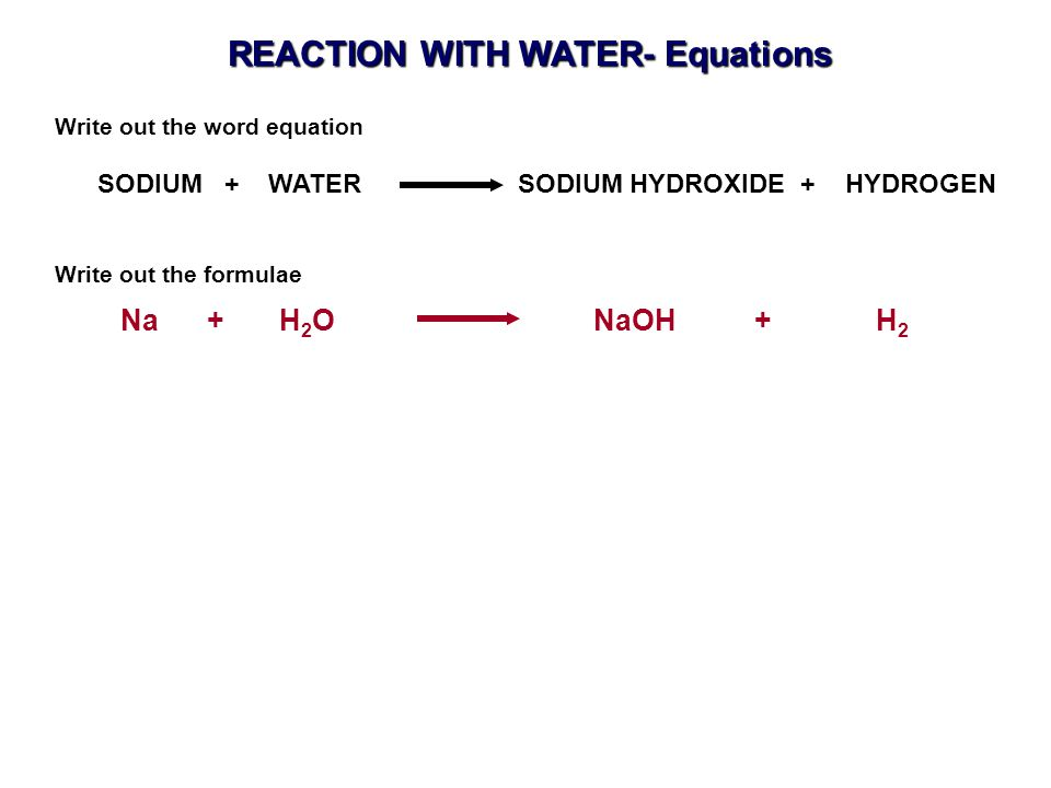 REACTION WITH WATER- Equations