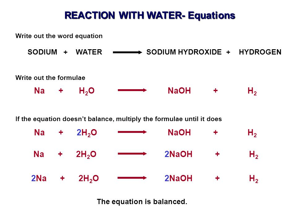 REACTION WITH WATER- Equations The equation is balanced.