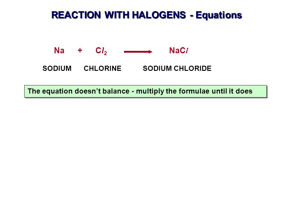 REACTION WITH HALOGENS - Equations