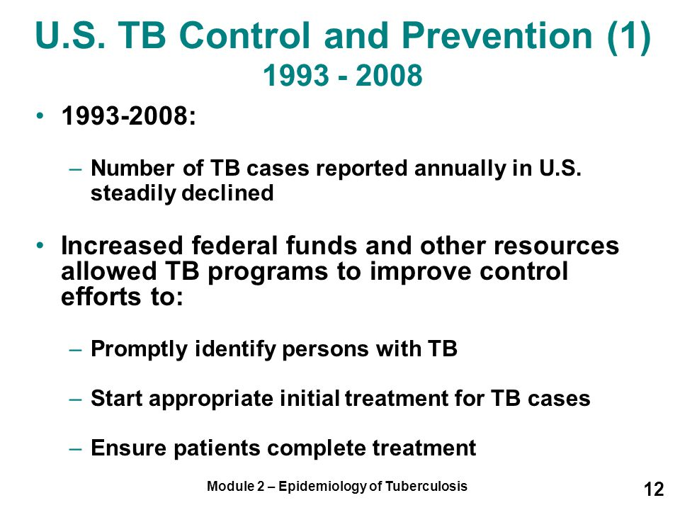 U.S. TB Control and Prevention (1) 1993 - 2008