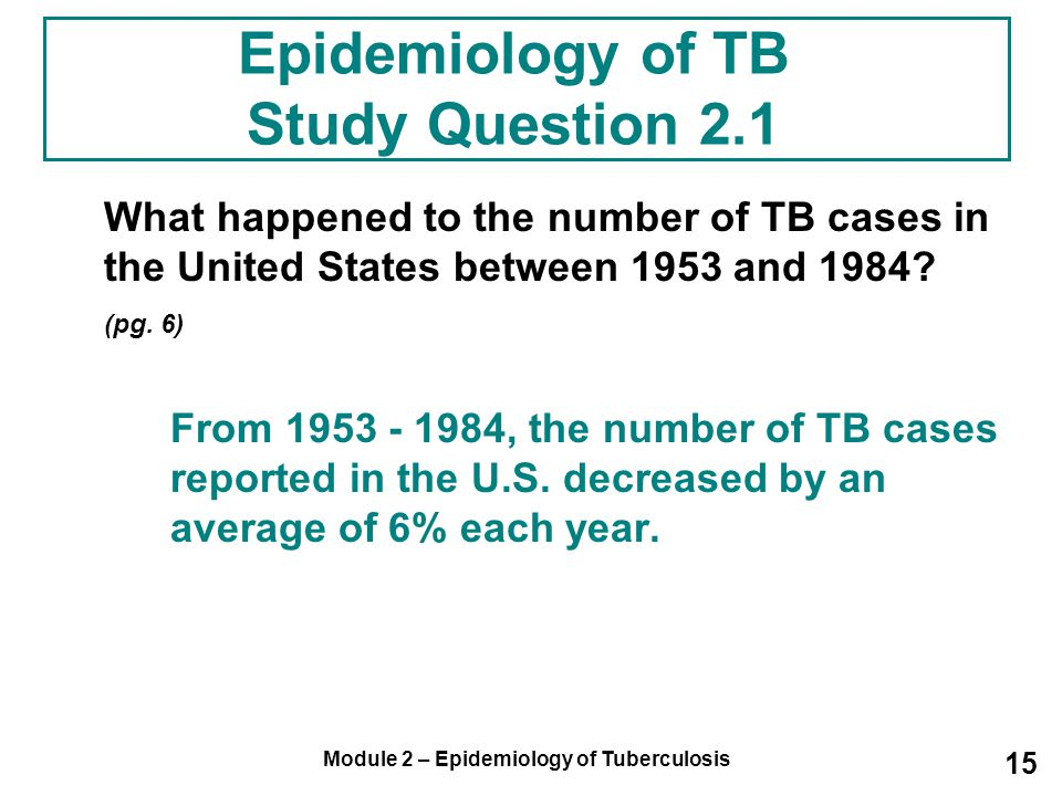 Epidemiology of TB Study Question 2.1