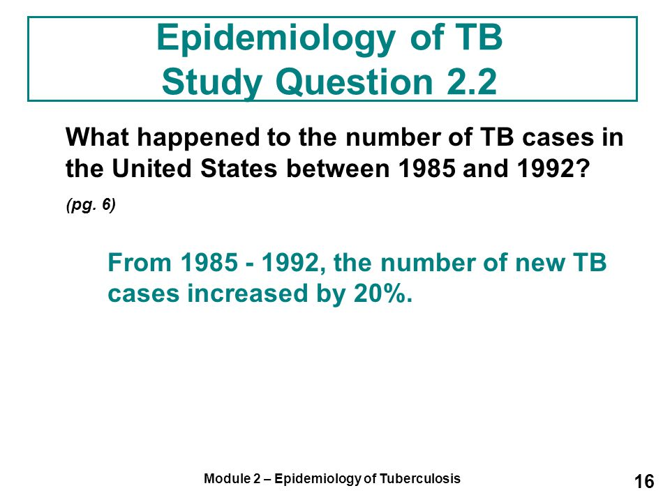 Epidemiology of TB Study Question 2.2