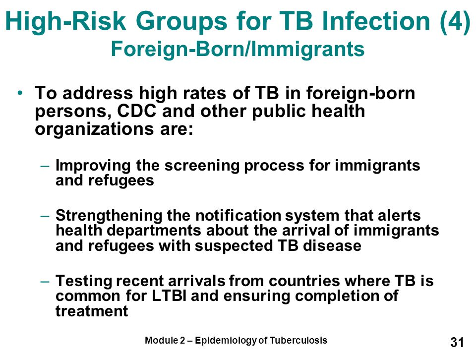 High-Risk Groups for TB Infection (4) Foreign-Born/Immigrants