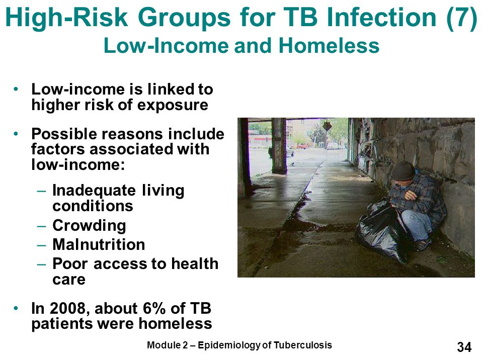 High-Risk Groups for TB Infection (7) Low-Income and Homeless