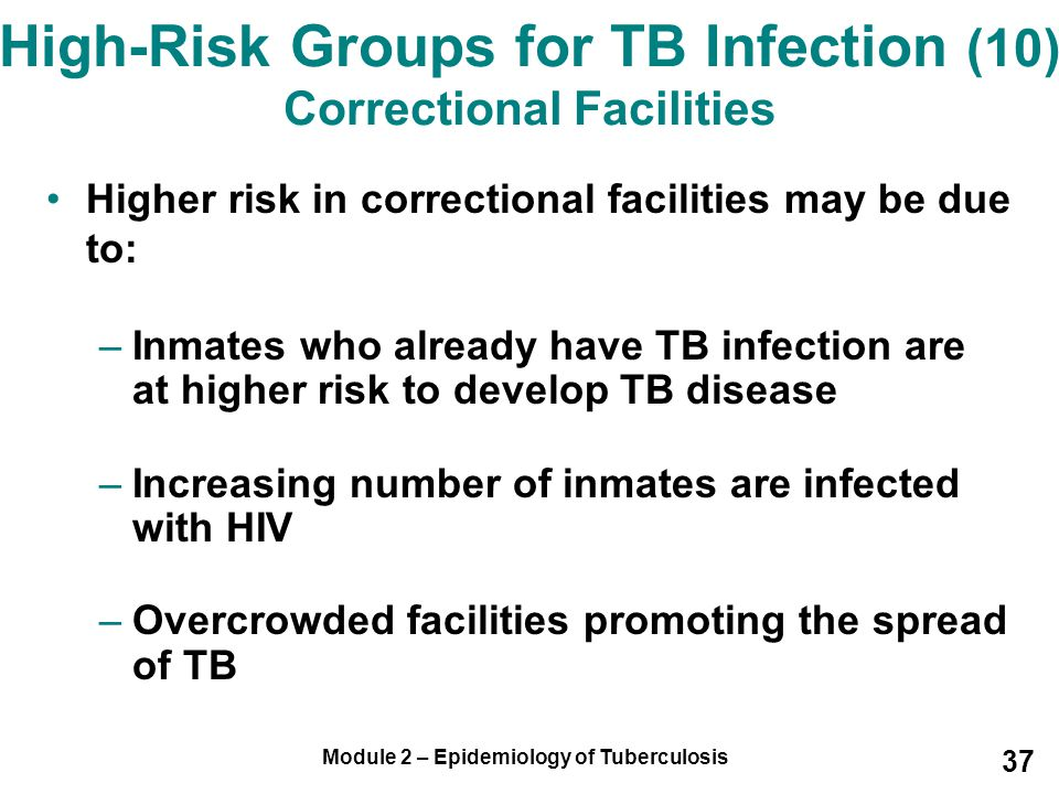High-Risk Groups for TB Infection (10) Correctional Facilities
