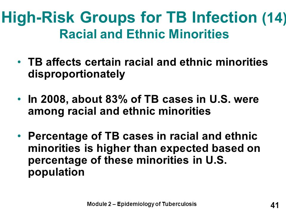 High-Risk Groups for TB Infection (14) Racial and Ethnic Minorities