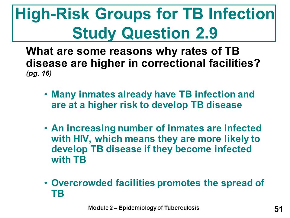 High-Risk Groups for TB Infection Study Question 2.9