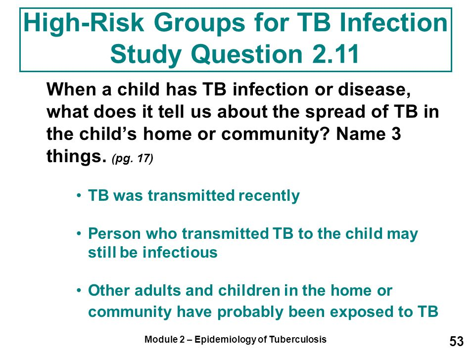 High-Risk Groups for TB Infection Study Question 2.11