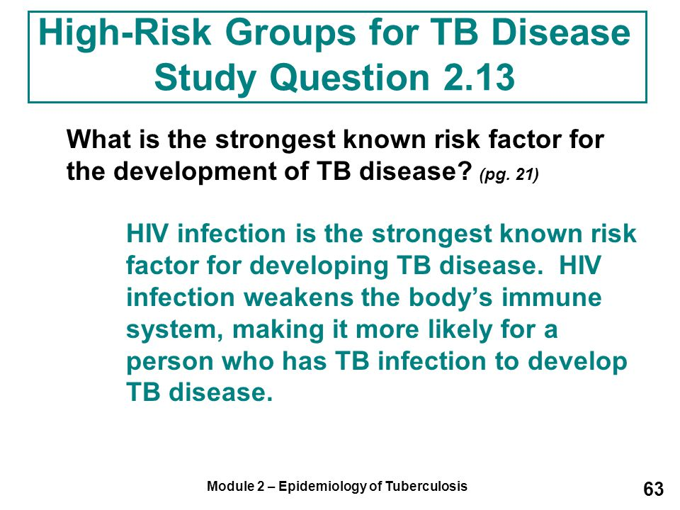 High-Risk Groups for TB Disease Study Question 2.13