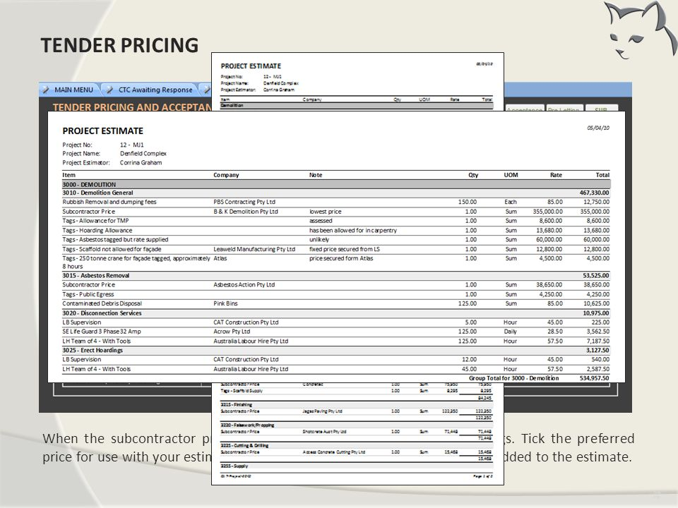 Tender Pricing TENDER PRICING