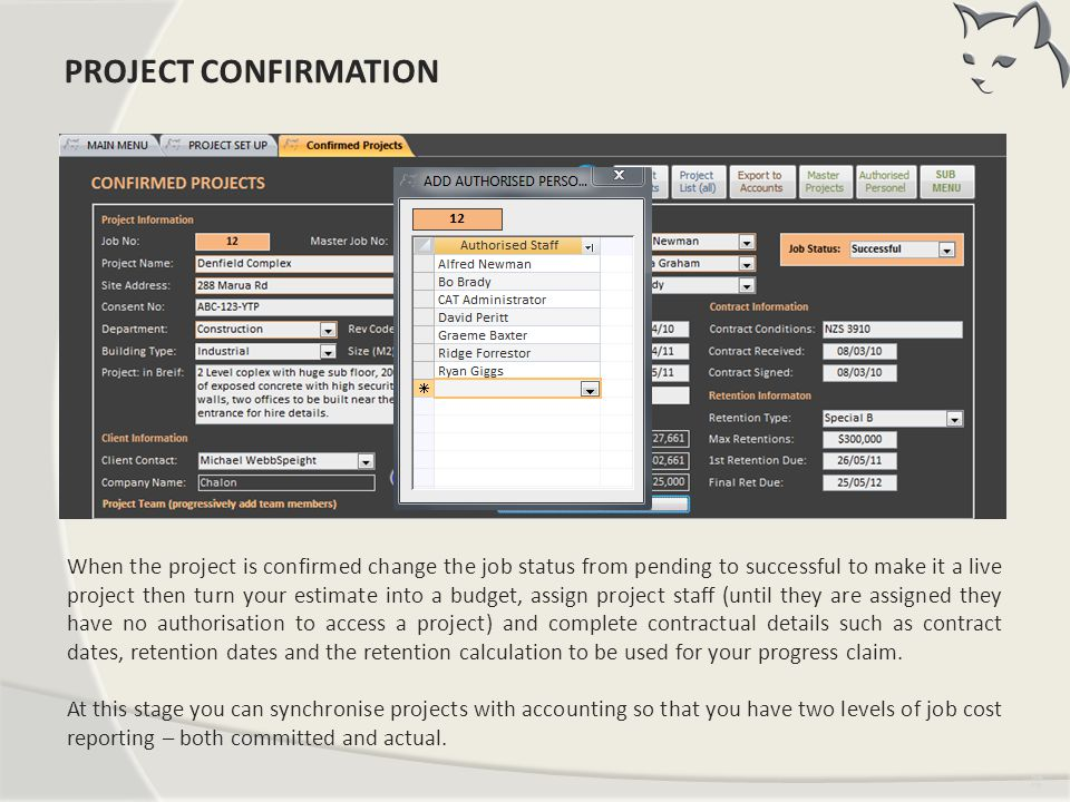 Project Confirmation PROJECT CONFIRMATION