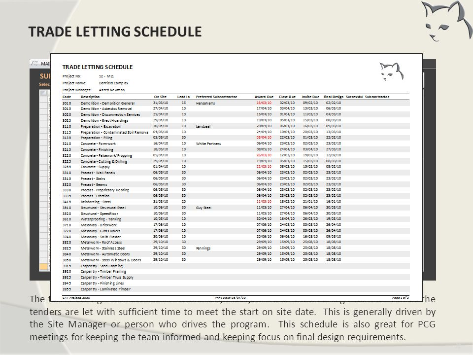 Trade Letting Schedule