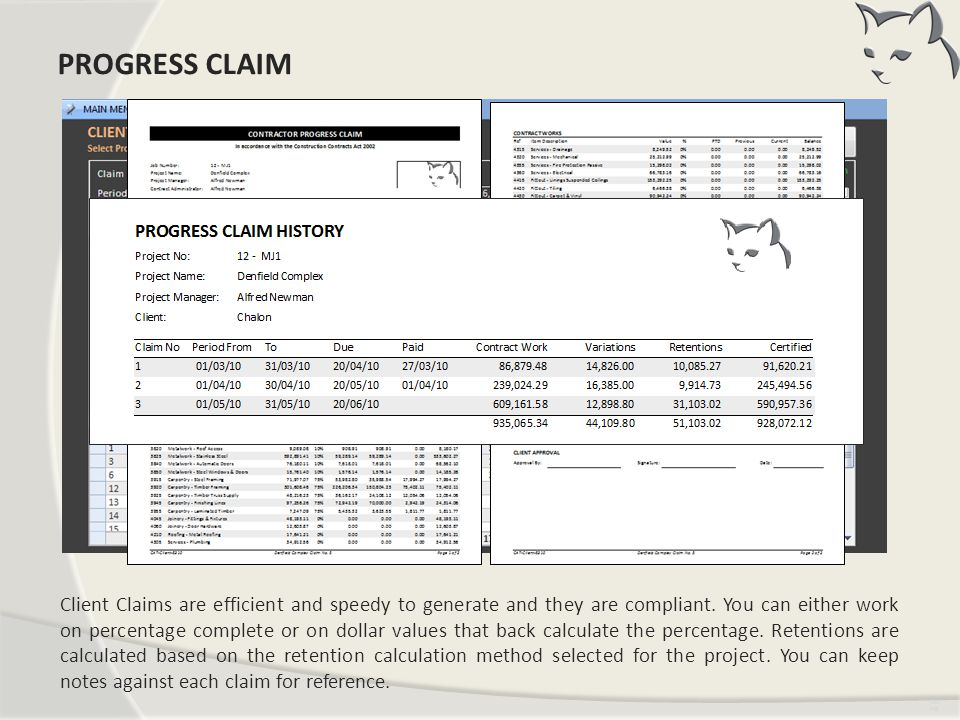 Our Progress Claim PROGRESS CLAIM