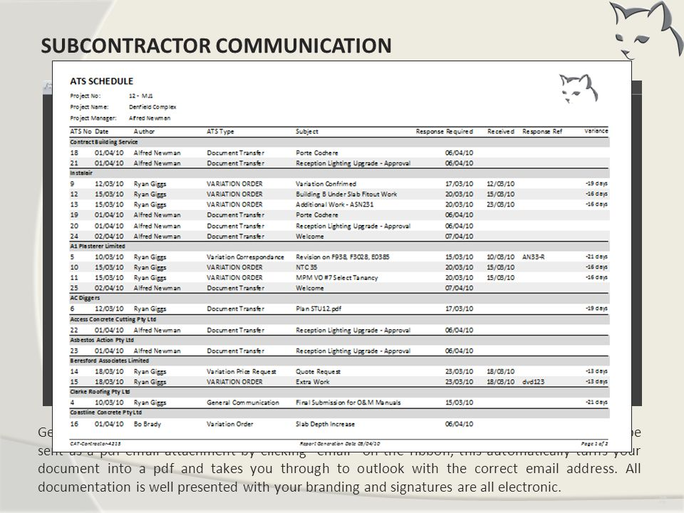 Subcontractor Communication