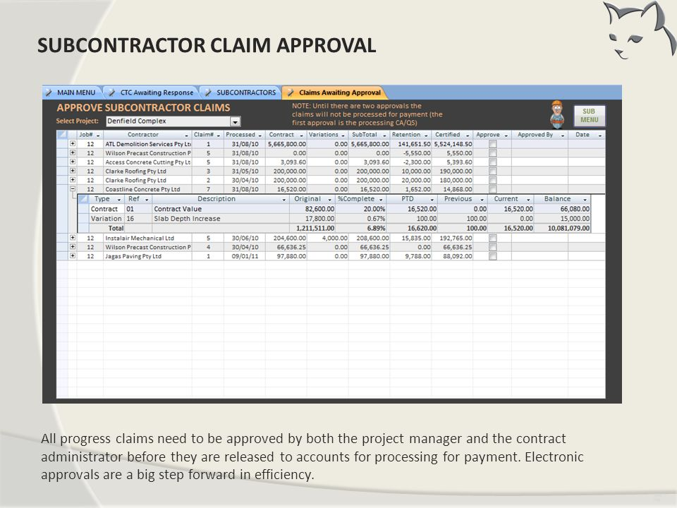 Subcontractor Claim Approval