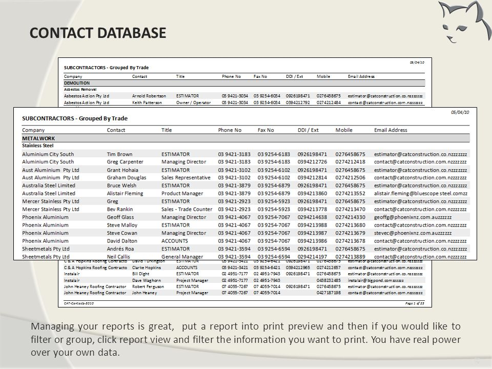 Contacts Reports CONTACT DATABASE