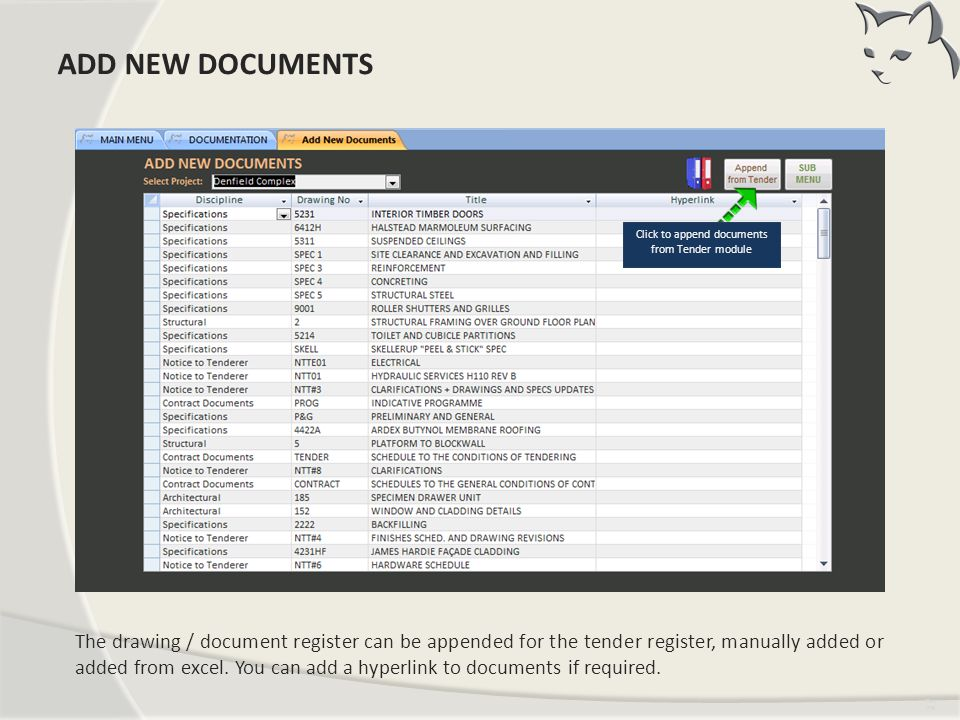 Click to append documents from Tender module