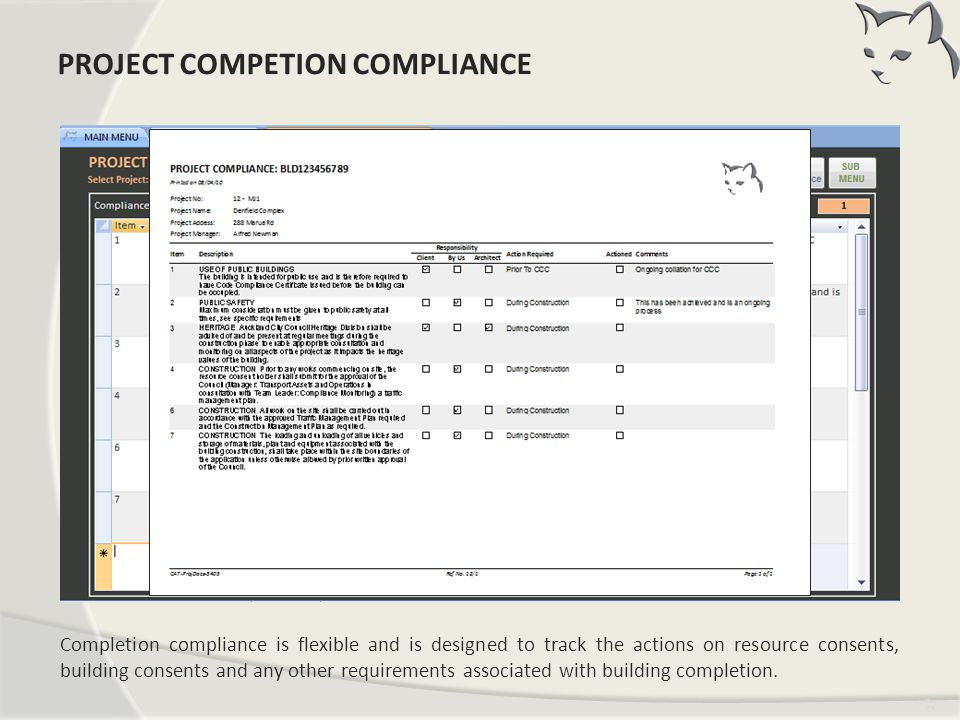 Project Completion Compliance