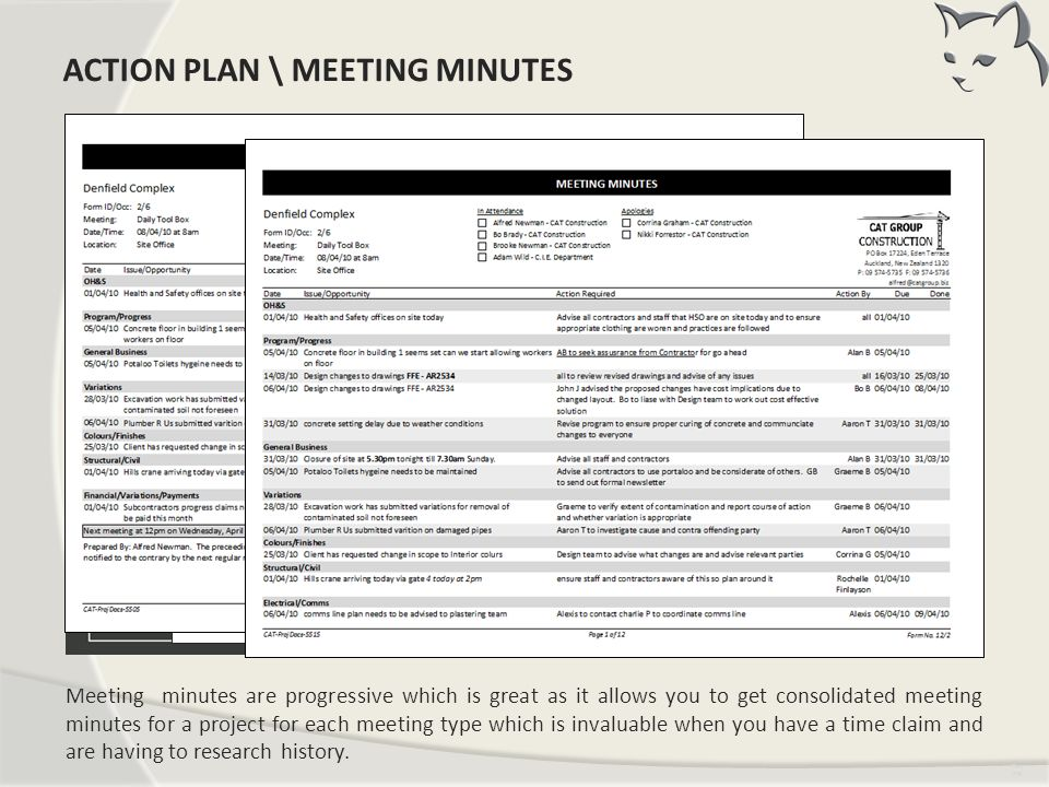 Action Plan \ Meeting Minutes