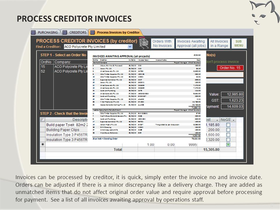 Process Creditor Invoices