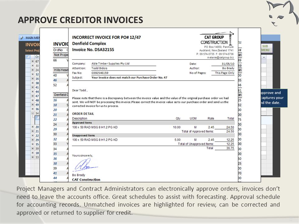 Approve Creditor Invoices