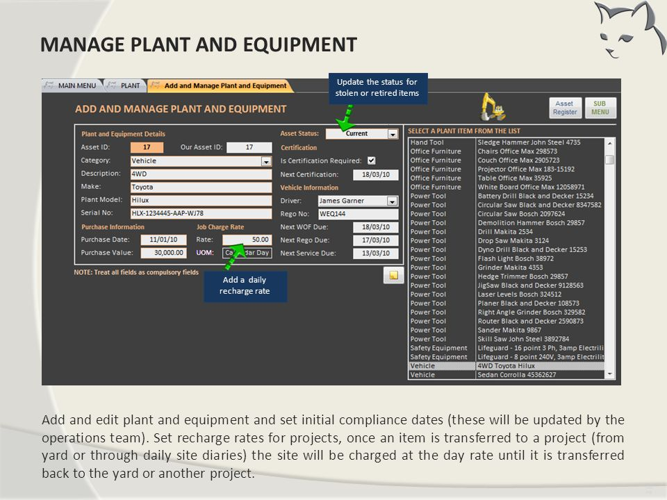 Add New and Manage Existing Plant
