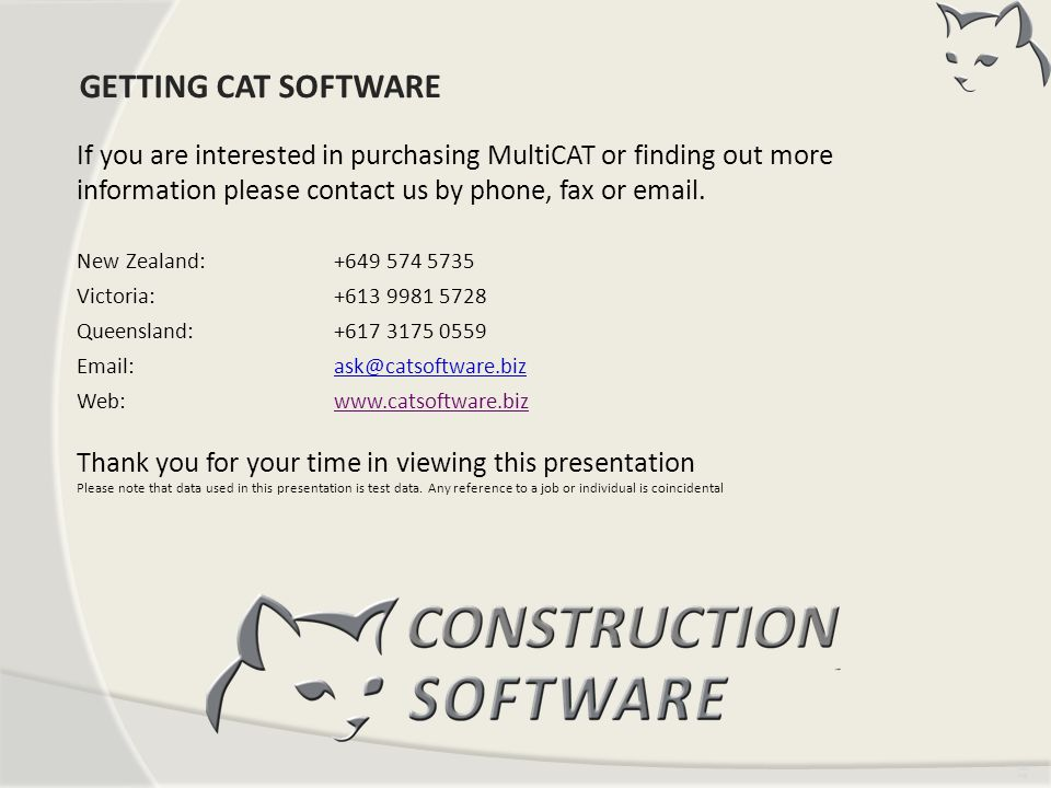 CONTACT US GETTING CAT SOFTWARE