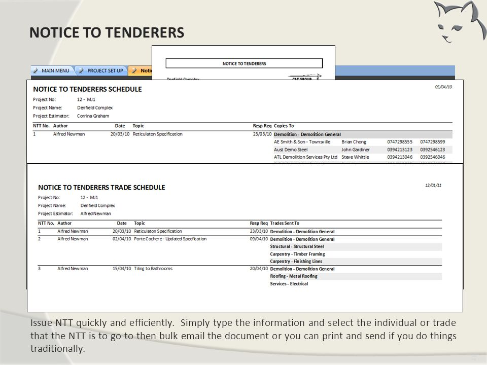 Notice To Tenderers NOTICE TO TENDERERS