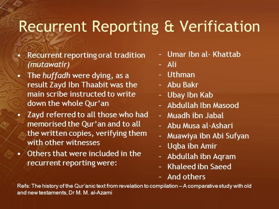 Recurrent Reporting & Verification