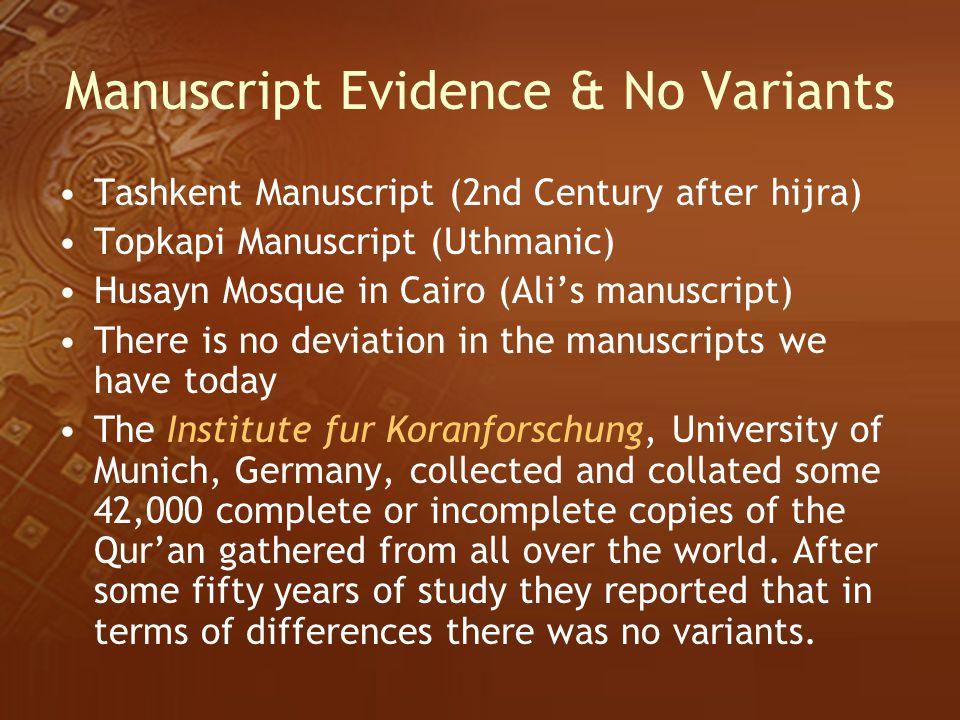 Manuscript Evidence & No Variants