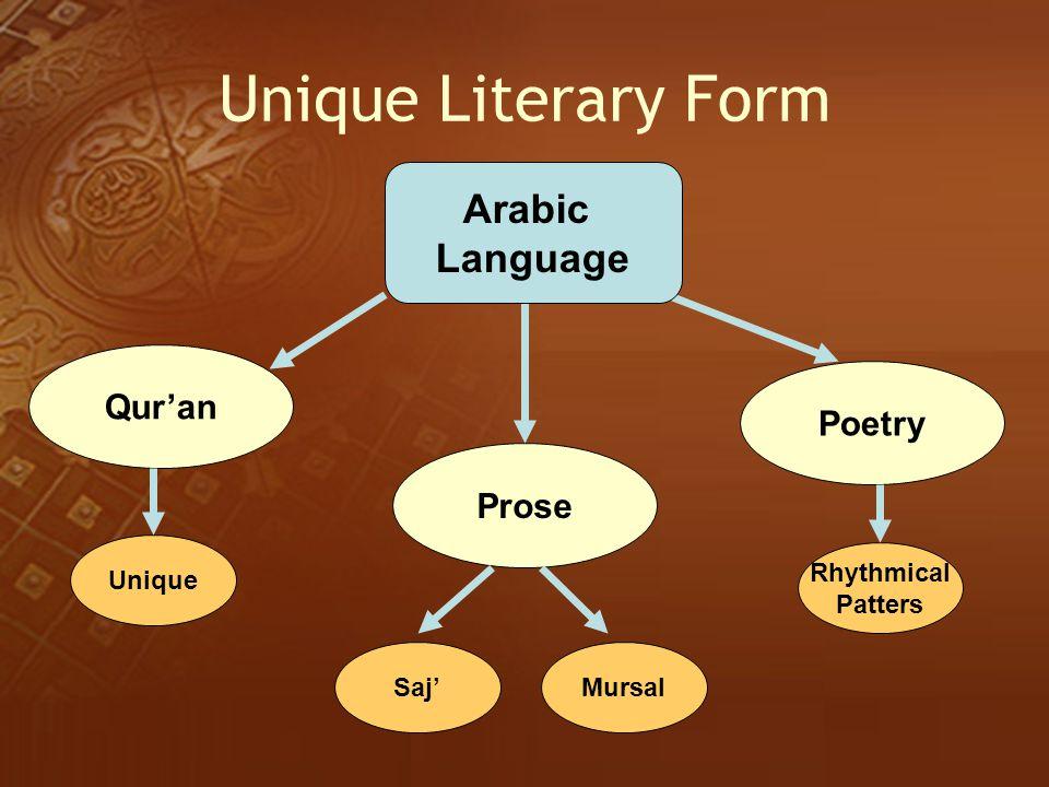 Unique Literary Form Arabic Language Qur'an Poetry Prose Unique