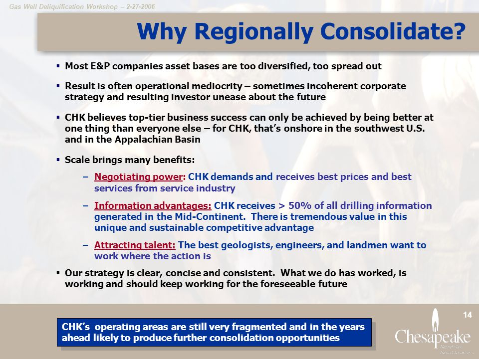 Why Regionally Consolidate
