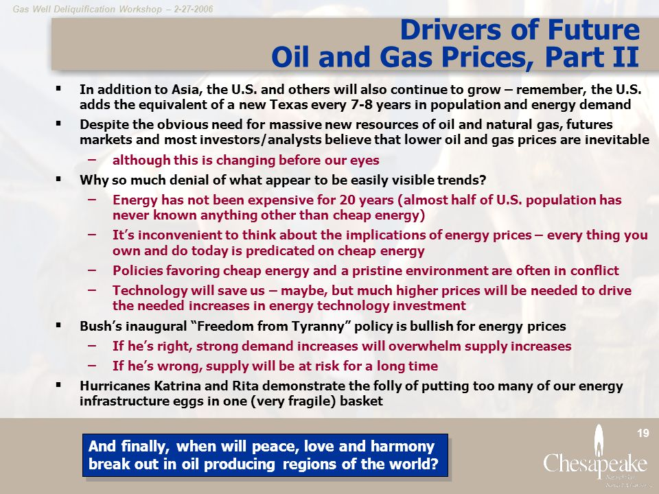 Drivers of Future Oil and Gas Prices, Part II
