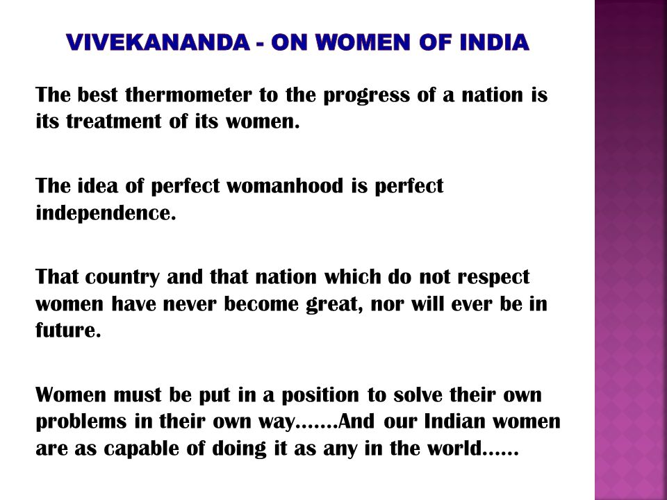 Vivekananda - on women oF India