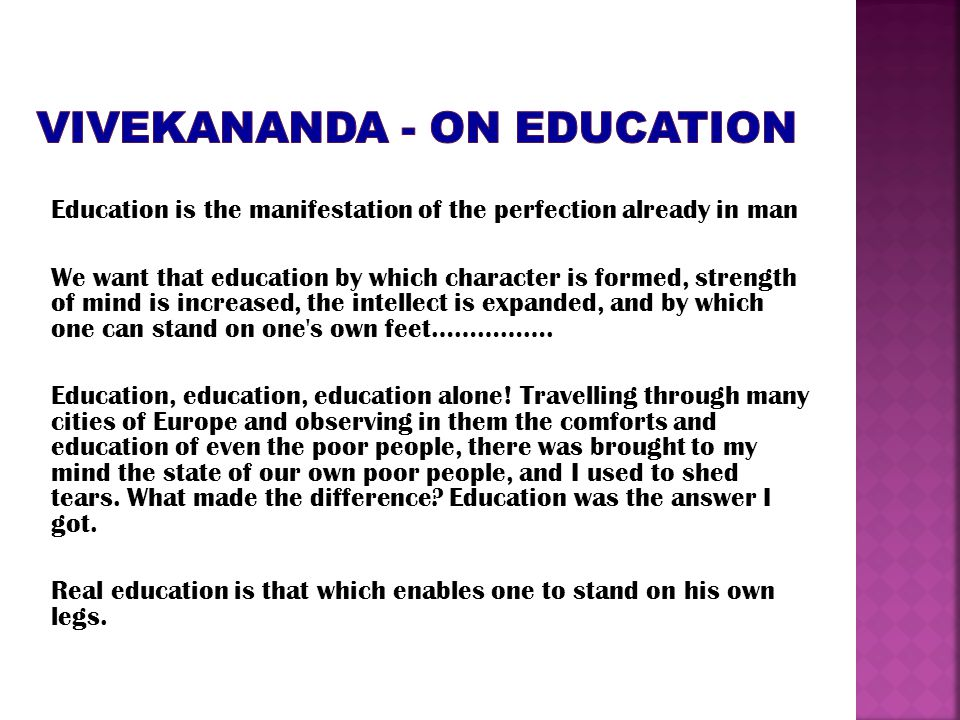 VIVEKANANDA - on education