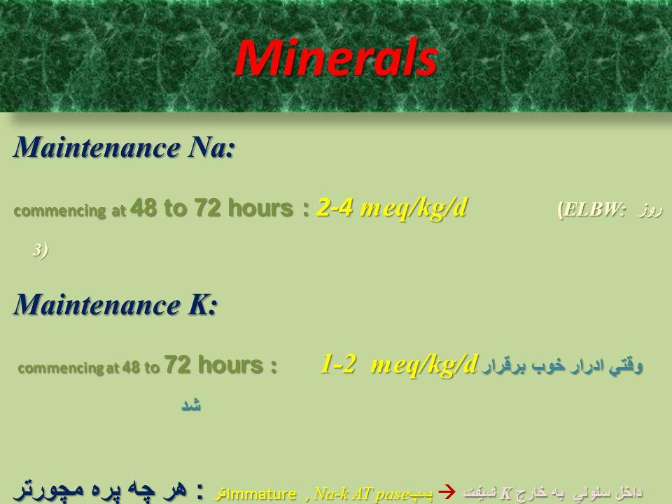 Minerals Maintenance Na: Maintenance K:
