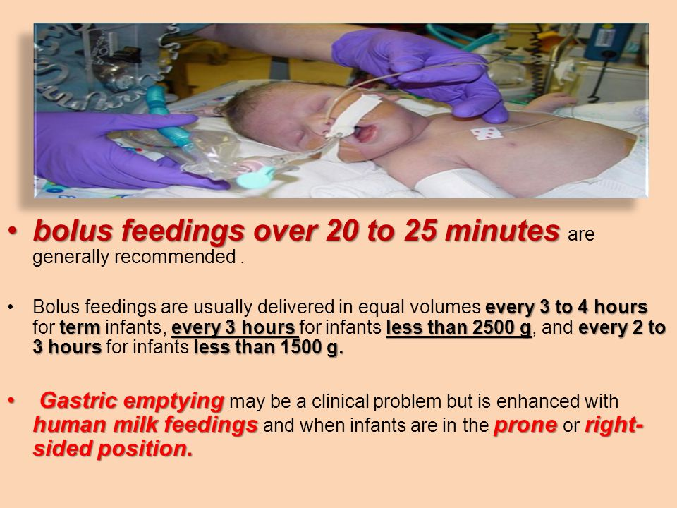 bolus feedings over 20 to 25 minutes are generally recommended .