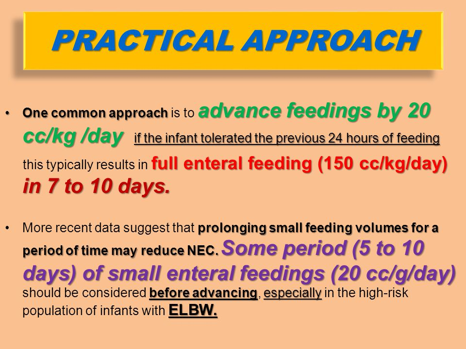 One common approach is to advance feedings by 20 cc/kg /day if the infant tolerated the previous 24 hours of feeding