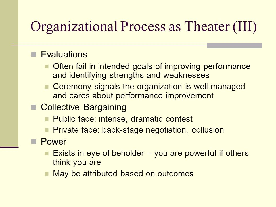 Organizational Process as Theater (III)
