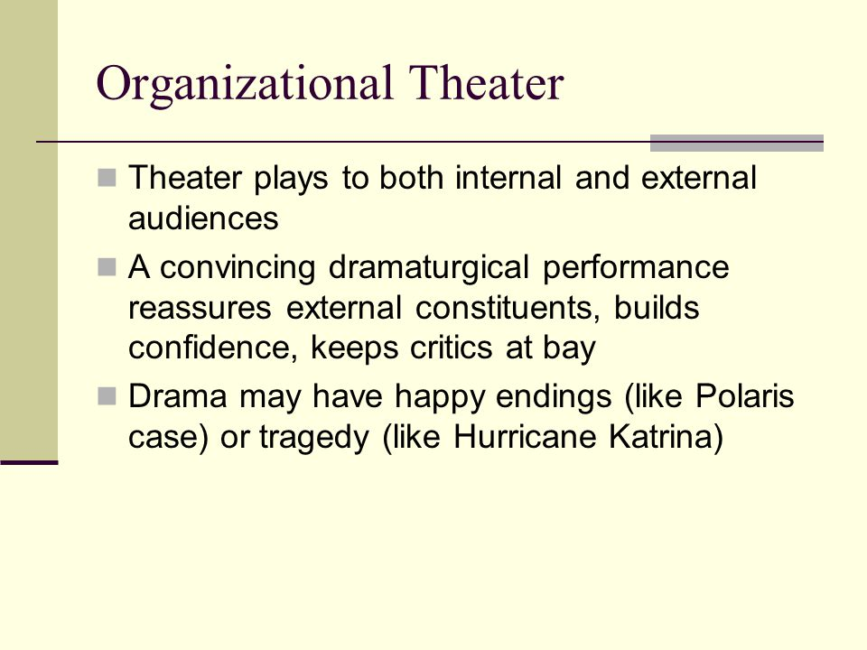 Organizational Theater