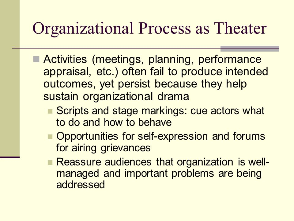 Organizational Process as Theater