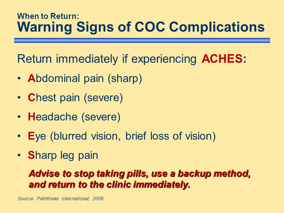 When to Return: Warning Signs of COC Complications