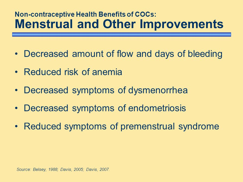 Decreased amount of flow and days of bleeding Reduced risk of anemia