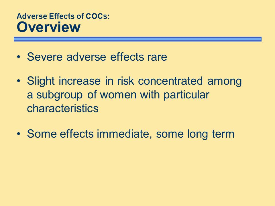 Adverse Effects of COCs: Overview