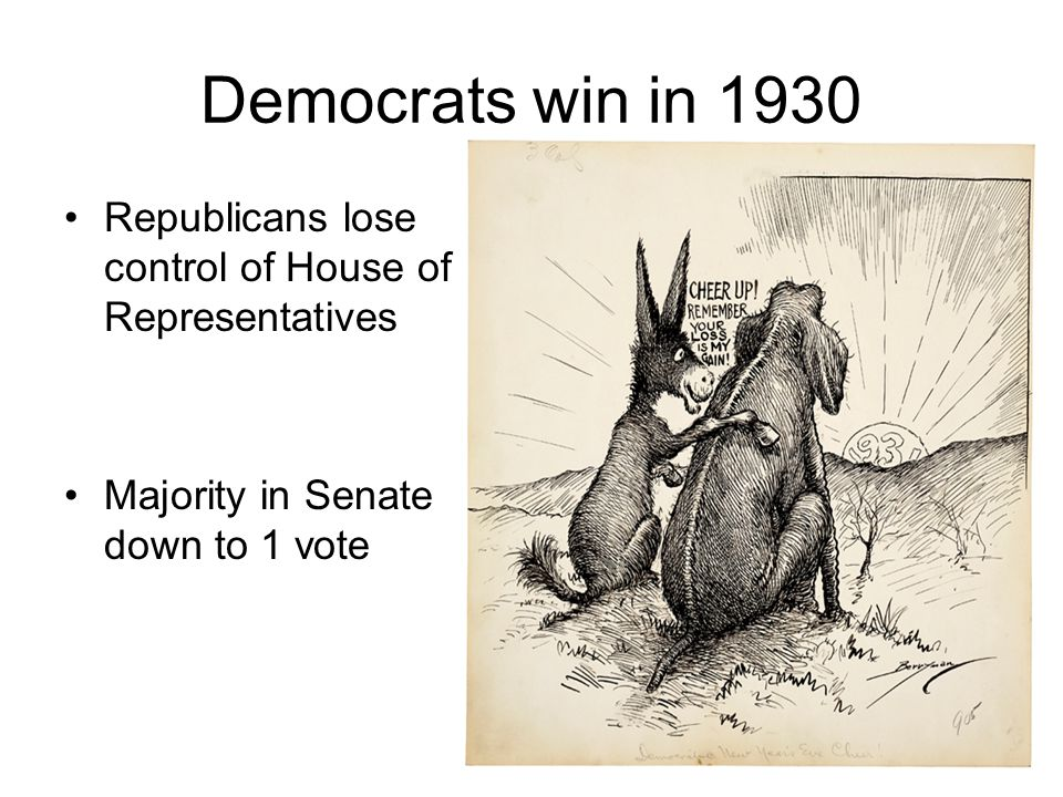 Democrats win in 1930 Republicans lose control of House of Representatives.