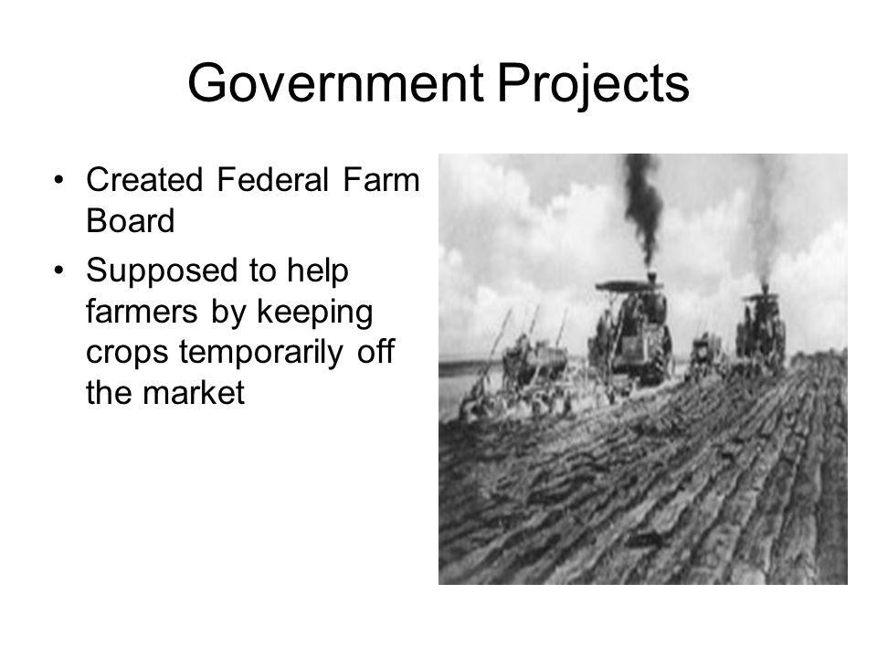 Government Projects Created Federal Farm Board