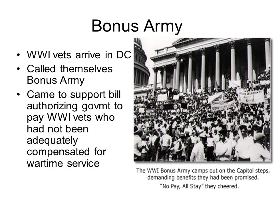 Bonus Army WWI vets arrive in DC Called themselves Bonus Army