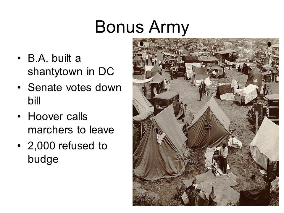 Bonus Army B.A. built a shantytown in DC Senate votes down bill